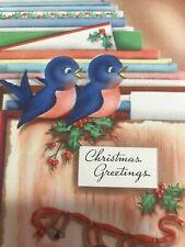 Vintage Christmas Card Art Deco Two blue Birds Bells Die Cut Peach Belly