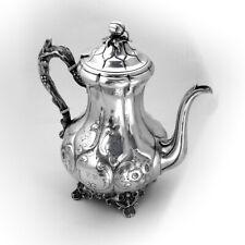 Ornate Repousse Coffee Pot Goodwin Dodd Coin Silver 1820 Mono