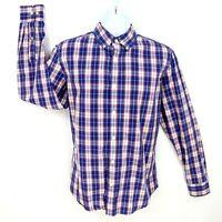 Banana Republic Dress Shirt Mens Sz M Blue Red White Plaid 100% Cotton Soft Wash
