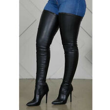 Sexy Women Thigh High Boots Pointy Toe High Heels Stretch Boots Shoes Nightclub