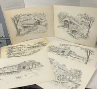 Jay Killian's Signed Pencil Drawings Art Prints 6 Drawings Bridge & Farm Vintage