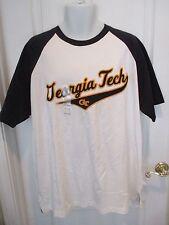 OVB Georgia GA Tech GT Mens 2X XXL White Raglan Short Sleeve T Shirt NEW