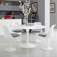 """Modway Lippa Mid-Century Modern 54"""" Round Dining Table in White"""
