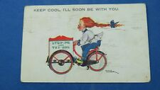 Vintage Comic Postcard 1933 Ice Cream Seller Ices Tricycle Bicycle Cycling Theme