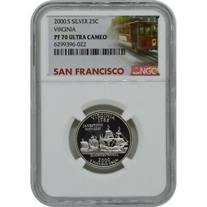 2000-S Virginia State Proof Silver Quarter NGC PF70 Ultra Cameo Trolley Label