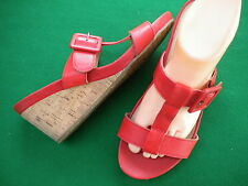 LADIES NEAR NEW COLORADO RED LEATHER SLIP ON CORK WEDGE SHOES  SIZE 7