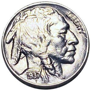 1937-D Buffalo Head Nickel, Lustrous 5c Denver Mint Collectible Coin No Reserve!