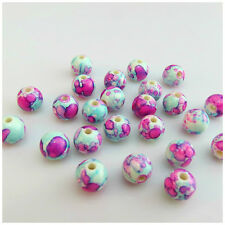 50PCS x 8MM FUCHSIA FLOWER PAINTED ACRYLIC ROUND BEADS FOR JEWELLERY MAKING