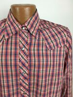 Vintage Plaid Western Shirt Men's Small Red Blue Long Sleeve Pearl Snap Buttons