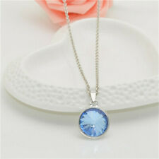 Fashion Round Lake blue Crystal Pendant Necklace Silver Chain Christmas gift