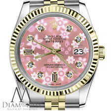 Rolex 36mm Datejust 2 Tone Peach Flower 8+2 Diamond Dial Stainless Steel & 18k