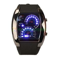 Cool Mens RPM Turbo Sports Watch Car Speed Meter Dial Flash Blue LED Wrist Watch