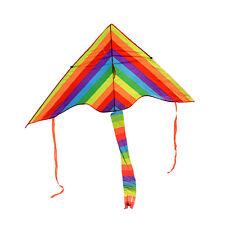 Rainbow Kite Kids Fun Outdoor Beach Playing Activity Toy Kite Durable String 50M