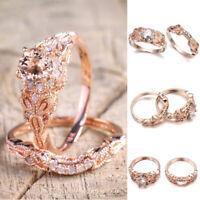 Women Rhinestone Crystal Wedding Rings Alloy Ring Rose Gold Fashion Jewelry/Gift
