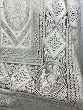 More details for vintage embroidered italian chariots needle lace linen tablecloth 218 x 290cm