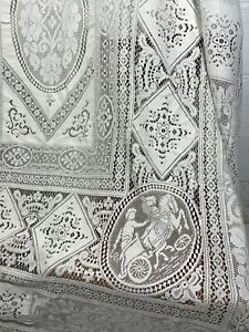 Vintage Embroidered Italian Chariots Needle Lace Linen Tablecloth 218 x 290cm