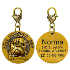 3D Bulldog Breed Pet ID Tag Dog Name Identity Tags Disc for Collar Engraved FREE