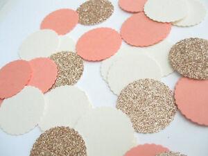 "Confetti 1"" Paper Circles Coral Champagne White Wedding Birthday Party Decor"