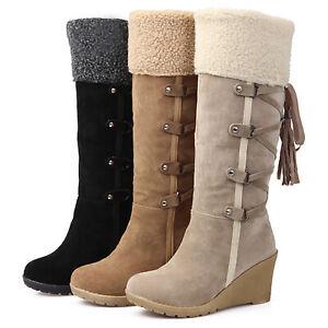 Ladies Winter Fleece Lined Wram Midi Calf Wedge Heel Boots Lace Up Combat Bootie