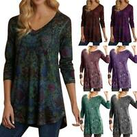 Women Floral Long Sleeve Tunic Blouse Plus Size Ladies Casual Loose T Shirt Tops