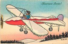 1930s Aviation Comic Art Frozen Wings Happy New Year Heureuse Anne H.A.W.