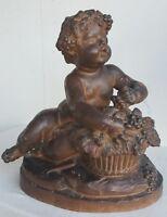 LE BRUN Sculpture TERRE CUITE Patine XVIIIe 18e Signe BACCHUS Enfant Putto Art