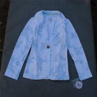 NWT SO Blue & White Women's Floral Soft-Feel Blazer Jacket Size X-SMALL MSRP $40