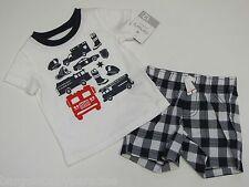 NWT Carter's 2 Pc Set Fireman Tee T-Shirt & Plaid Shorts Baby Infant  Boys 12 M