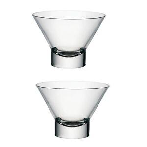 2 Glass Desert Bowl Sorbet Ice cream Dish 37.5cl Contemporary Cocktail Bowl 13cm
