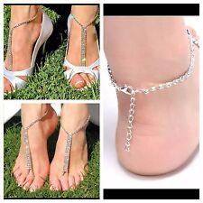 1 PAIR Barefoot Beach Sandals Wedding Rhinestone Anklet Foot Chain Jewelry