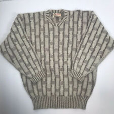 Vtg Alan Paine Alpaca & Lambs Wool Sweater Ivory Brown Cable Brick Knit 42 Large
