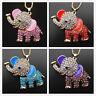 Betsey Johnson Enamel Crystal Elephant Animal Pendant Sweater Necklace