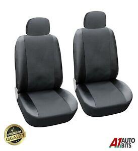 Vorne Auto Sitzbezüge Schwarz Kunstleder & Premium Stoff Universal Schutz