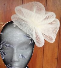 ivory crin fascinator headband headpiece wedding party piece race ascot bridal