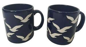Vtg Waechtersbach Set of 2 Cobalt Blue White Seagull Mugs Seagulls 12oz