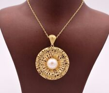 """Filigree Textured Round Pearl Necklace 14K Yellow Gold Clad Silver 925 QVC 18"""""""