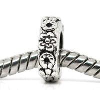 50European Antiksilber Blume Ring Spacer Perlen Beads 10x10mm
