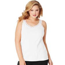 Just My Size Stretch Jersey Lace Trim Tank Hoj314 White 1x