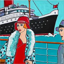 """Tableau acrylique Art Déco """"La Passagère"""" Kris Milvy 40 x 40 cm"""