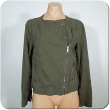 GAP Women's Moto Style Jacket, Olive Green Linen Blend, Cross Front Zipper sz S