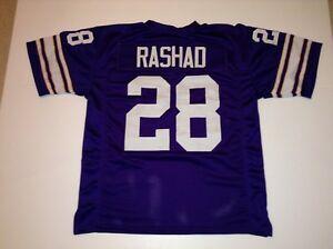UNSIGNED CUSTOM Sewn Stitched Ahmad Rashad Purple Jersey - M, L, XL, 2XL
