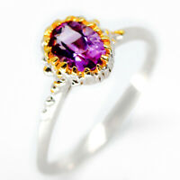 Special Price! Natural Amethyst 7x5 mm 925 Sterling Silver Ring / RVS28