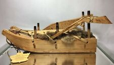 Native Canadian Inuit Carved Wooden Dog Sled w/ Rifle & Shoes Fur Leather Hunter