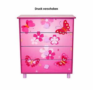 B-Ware Kinderkommode Kinderschrank Kinder Schrank Schmetterling +Schubladen rosa