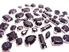 50pcs BLACK MIXED Shapes SEW ON Acrylic Silver Set Crystal Diamante MONTEES Gems