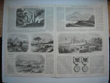 GRAVURE 1864. EXPEDITION DU MEXIQUE. LERMA. TOLUCA. ACAMBARO. A MORELLA. MEDAILL