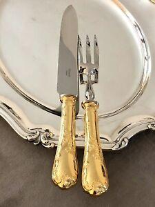 CHRISTOFLE MARLY 24K GOLDPLATED LARGE CARVING SET FORK & KNIFE EXCELLENT