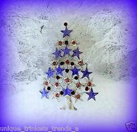AMETHYST PURPLE CHRISTMAS STAR TREE RHINESTONE ENAMEL GIFT PIN BROOCH