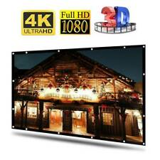 """120"""" Inch Projector Screen 16:9 3D 4K Hd Home Theater In/Outdoor Projection Us-"""