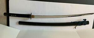 "REPLICA MADE - 40"" Japanese Katana Sword, w Copper Sleeve & Wooden Scabbard"